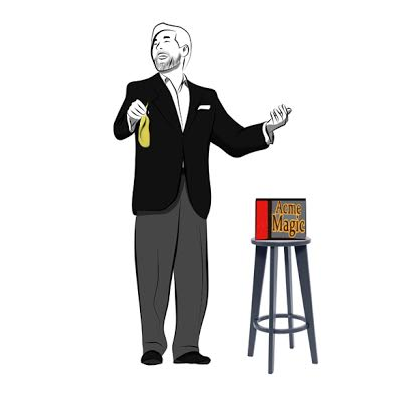 Cartoon Magician Laughing & Performing a Trick
